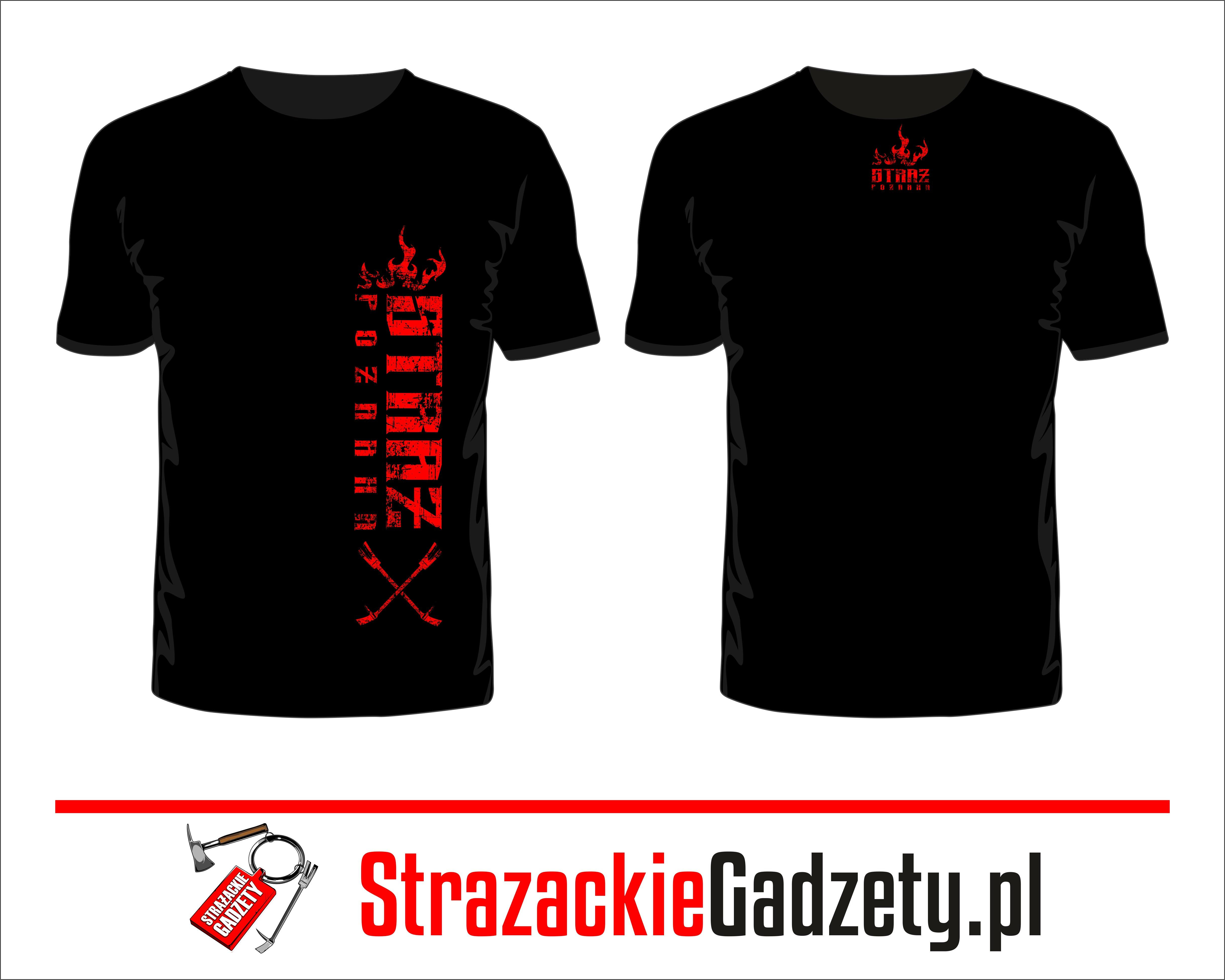 a391489f2faa7b Koszulka czarna ,T-shirt - STRAŻ POŻARNA - napis czerwony pionowy
